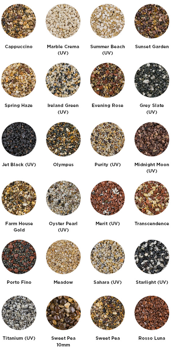 resin driveway colour chart